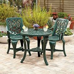 accessories for a garden furniture Set charming resin bistro set has the look of cast iron without the IYVYTJQ