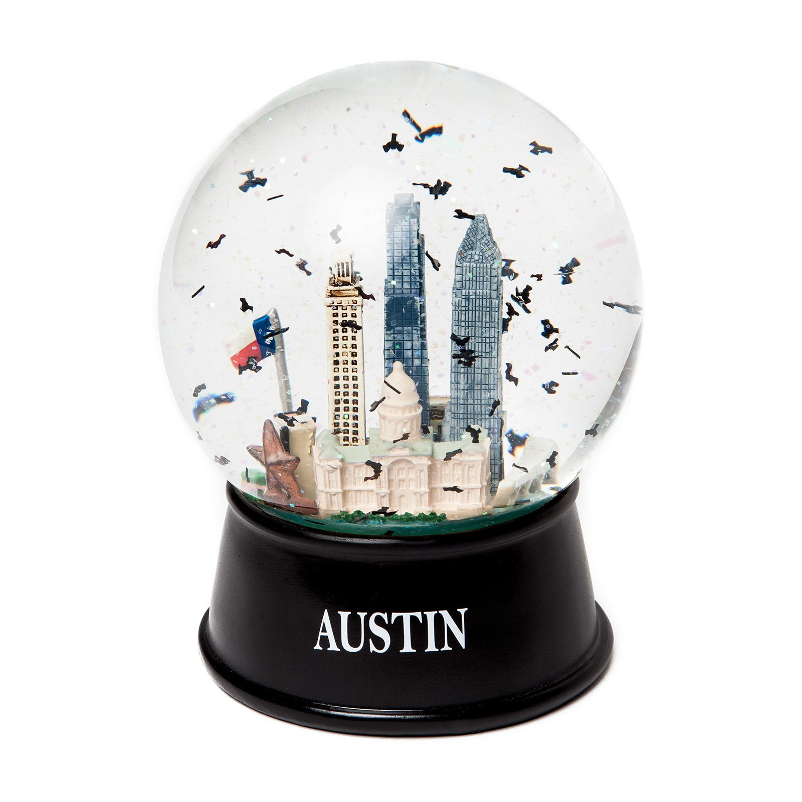 austin glitter and bats large glass snow globe ... WJNYYPV