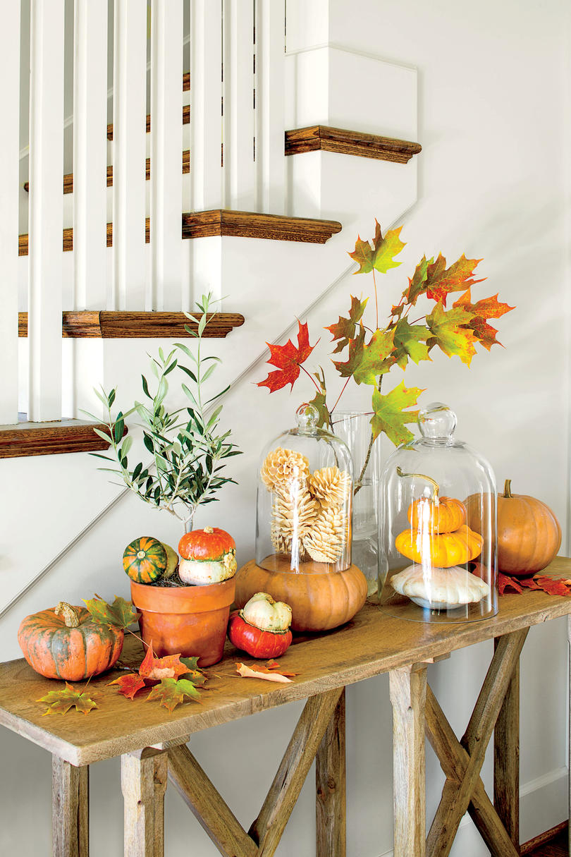 autumn decorating ideas fall pumpkin tableau ASVCNJB