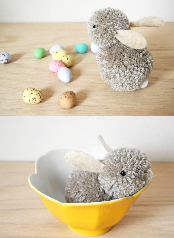 cheap easy easter decorations diy-pom-pom-bunny-easy-easter-party-craft- WRYKPRR