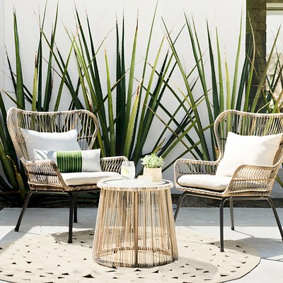 Cheap patio furniture latigo 3pc all-weather wicker outdoor patio chat set - tan - threshold™ ETLNUKG