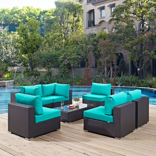 Cheap patio furniture modway furniture convene 7 piece outdoor patio sectional set in espresso HODNTNC