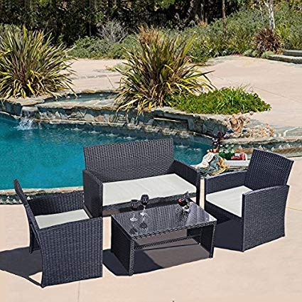 cheap rattan garden furniture sets costway 4 pc rattan patio furniture set garden lawn sofa wicker cushioned LJVTUMX