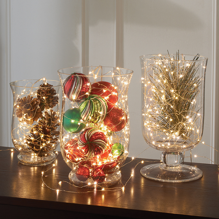 christmas lighting ideas indoor fairy light vases VSKEMJE