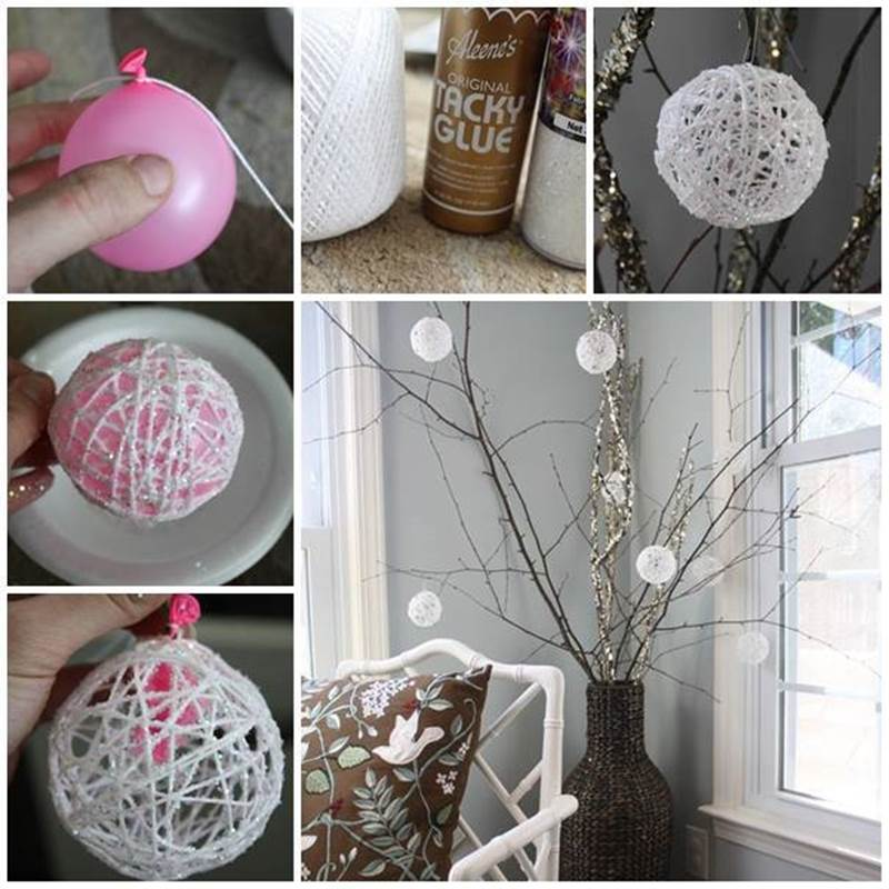 diy ideas for christmas decorations creative ideas - diy glittery snowball christmas ornaments EWPPJUP