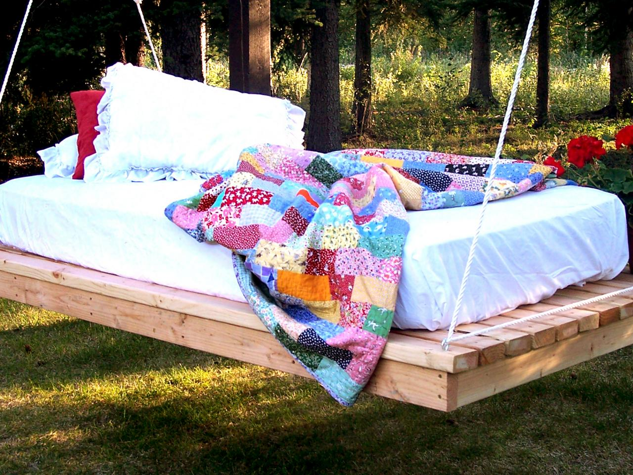 Floating Bed for garden easy diy hanging daybed MXRTNQB