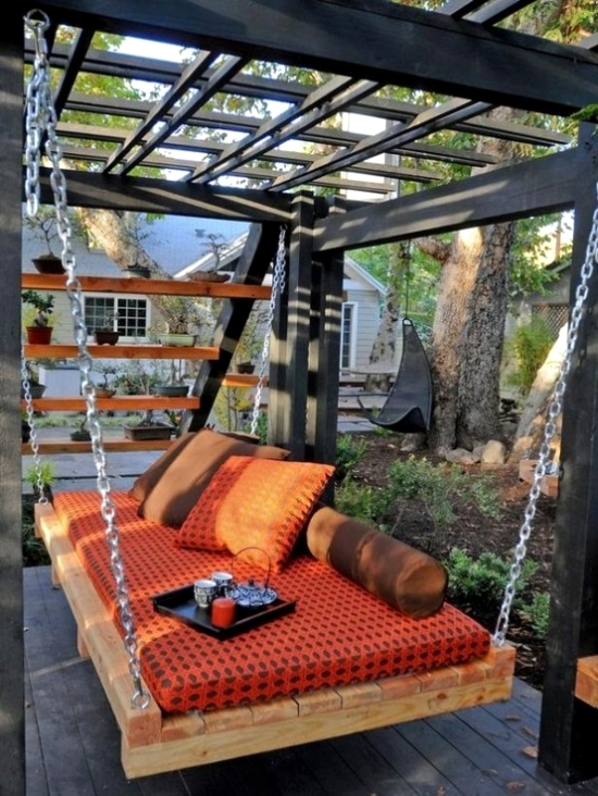 Floating Bed for garden hanging bed with colorful striped blanket UUJALAY