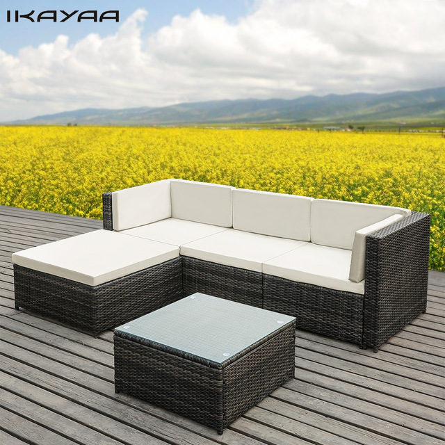 Garden furniture made of poly rattan ikayaa 5pcs pe rattan wicker patio garden furniture sofa set with cushions KJHTCBD