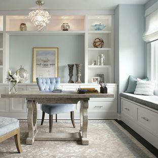 home office decor ideas inspiration for a transitional home office remodel in new york with blue TWYRVLI