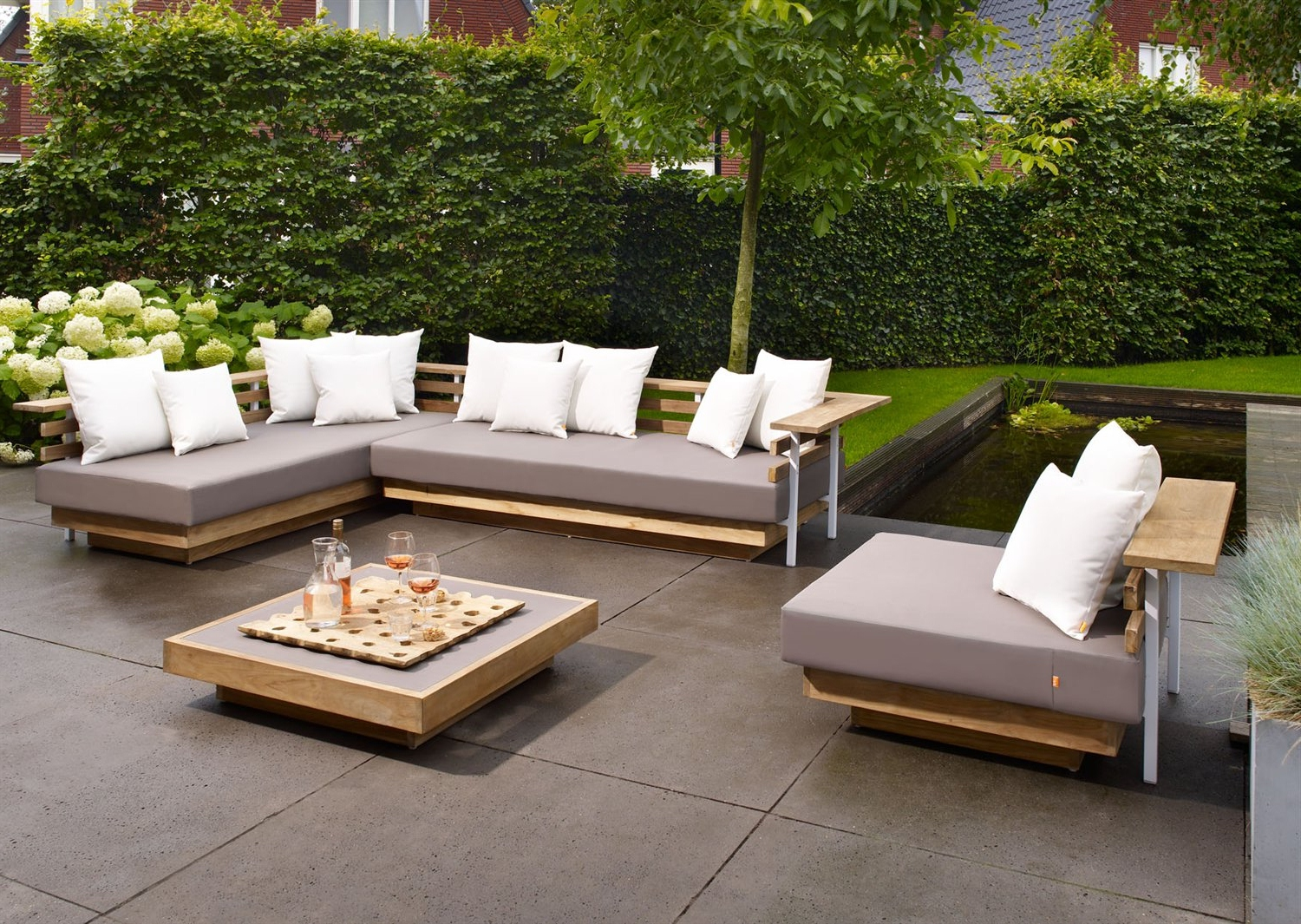 Lounge Garden Furniture beautiful affordable nice design metal and wood outdoor lounge with grey NTQOHQH