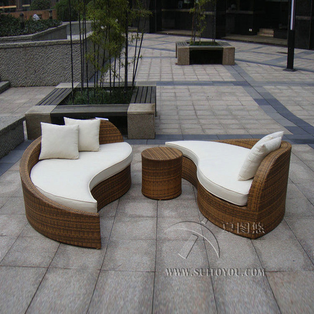 polyrattan Lounge Seating group 3pcs rattan sofa set poly rattan waterproof lounge bed , rattan ZUPQXSB