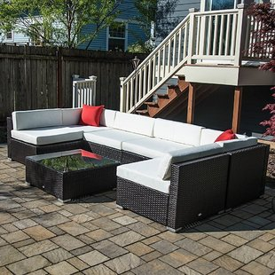 polyrattan Lounge Seating group 7 piece rattan sectional seating group with cushions PFLMMAW