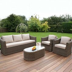 polyrattan Lounge Seating group dorset rattan garden furniture 3 seat sofa set HPNBZJL