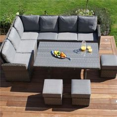 polyrattan Lounge Seating group maze rattan - victoria kingston corner dining set in grey - rattan PIULFGA