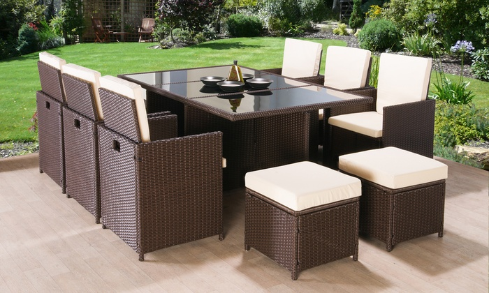 polyrattan Lounge Seating group poly-rattan garden furniture set ... NRGDDXZ