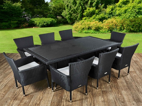 rattan garden furniture cambridge 8 rattan garden chairs and rectangular table set in black and MIHIEXK