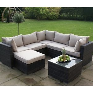 rattan garden furniture image is loading santorini-rattan-garden-furniture -brown-corner-group-withouth- OVLFEIQ