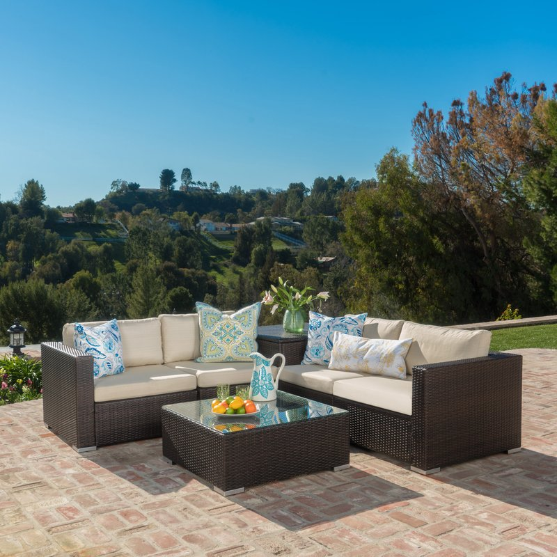 Rattan Seating Group benbow 6 piece rattan seating group with cushions KHQBAIT