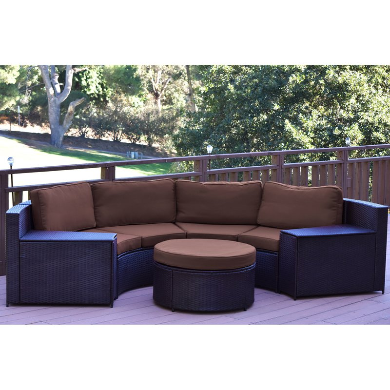 Rattan Seating Group cartagena 5 piece rattan sofa seating group with cushions SGPOQWV