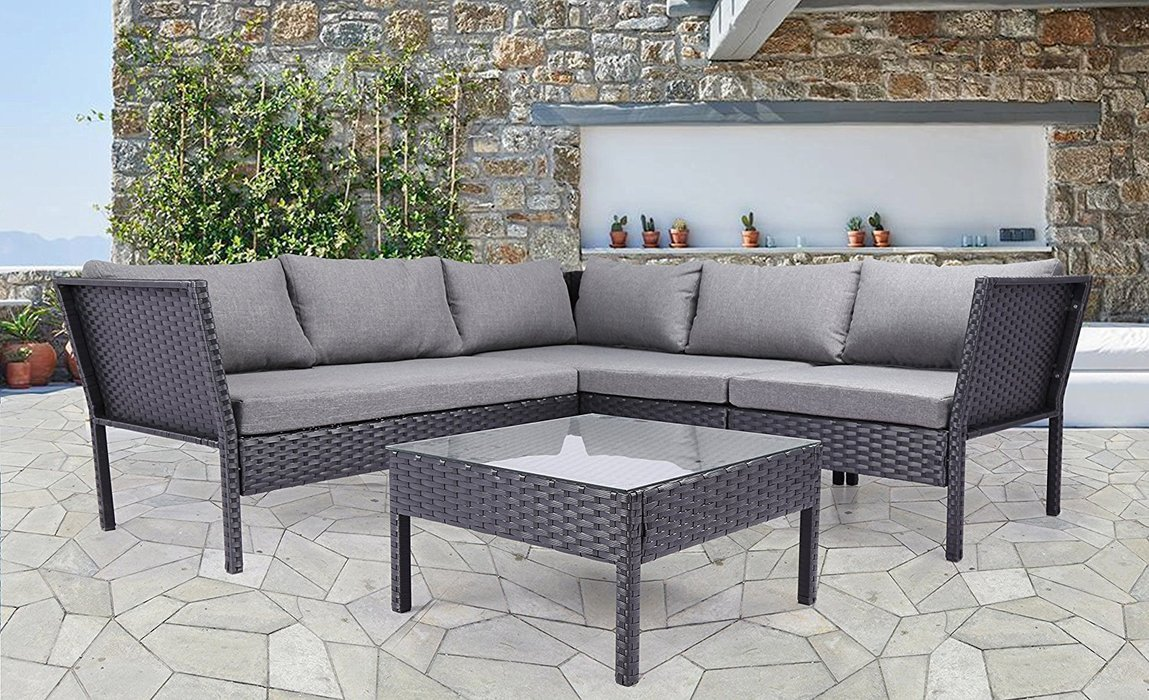 Rattan Seating Group highland dunes herold outdoor complete 4 piece rattan sectional seating  group WQMYAXR