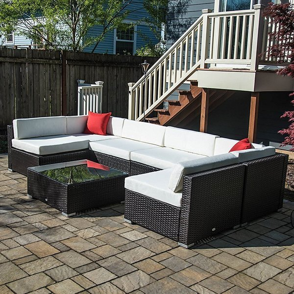 Rattan Seating Group outsunny 7 piece rattan sectional seating group with cushions u0026 reviews | MRVHDJG