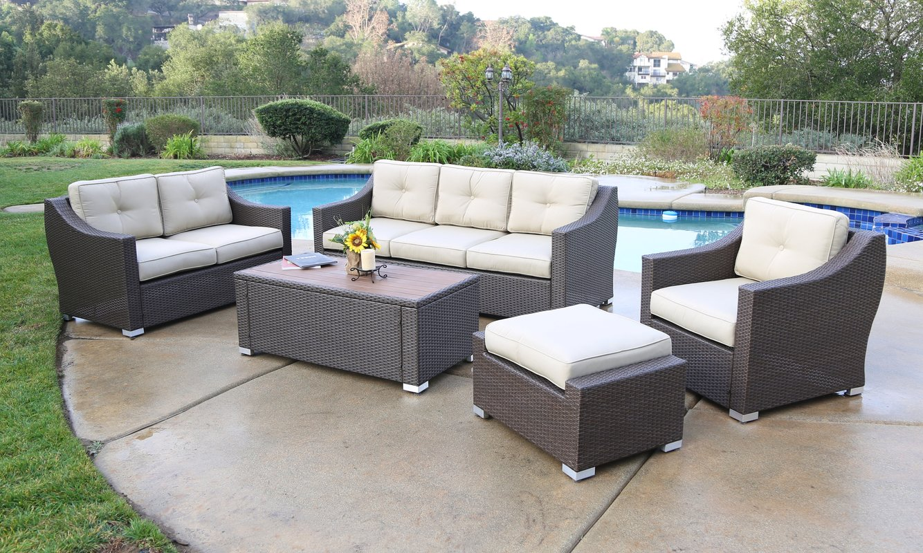 Rattan Seating Group suai 5 piece rattan seating group with cushions NSHPHBK