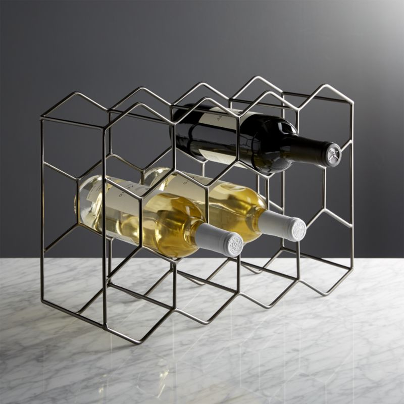 11-bottle graphite wine rack + reviews | crate and barrel VMULOTO
