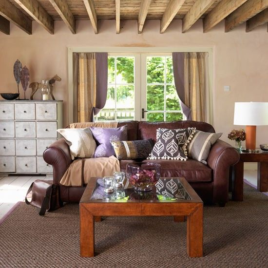 Country style decorating brown leather couch living room ideas | living room decorating ideas | country  style decorating BEZBADE