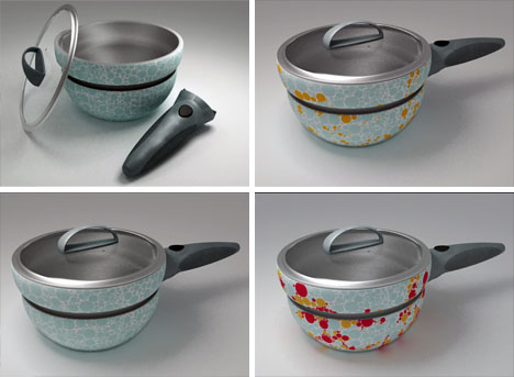 Design cooking pots color-changing cookware: hot pot + serving bowl design OXEIFEM