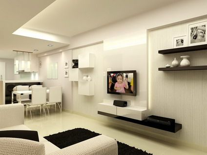 modern living room design for small house white minimalist house interior design with small modern kitchen living room  open plan design ideas VCZCJEK