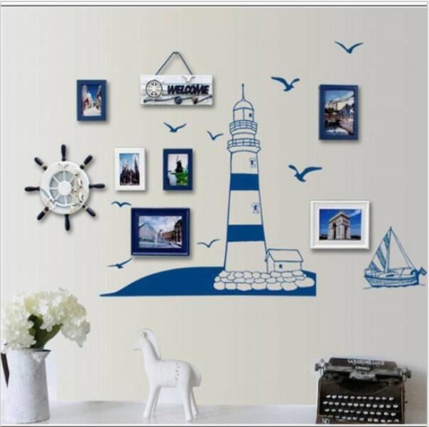 nautical decoration blue ocean lighthouse seagull photo frame diy wall stickers home nautical  decor wall art bedroom DMGJJFY