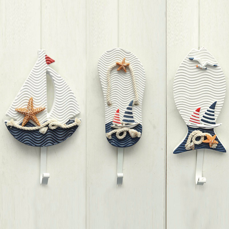 nautical decoration new wall hooks mediterranean style anchors fish slipper boat shaped living  room hanging decoration nautical QHMESAN
