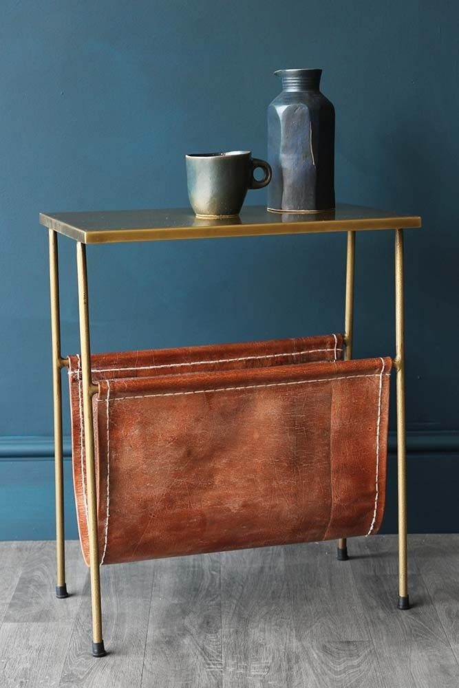Side table with magazine rack gatsby side table with leather magazine holder - view all - furniture CWVCXLQ