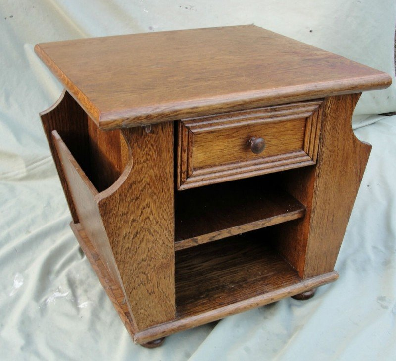Side table with magazine rack solid oak side table with magazine racks each side in LXSMSZK