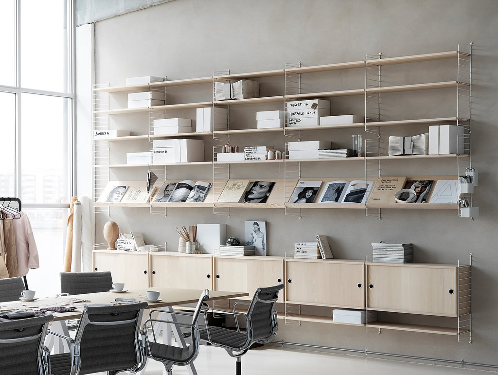 String Shelving System string 75 x 30 white wall panels with ash shelves WWGFNMB