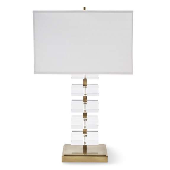 Stacked Crystal Table Lamp, Antique Brass