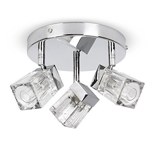 Modern Chrome Ice Cube 3 Way IP44 Bathroom Ceiling Light Spotlight