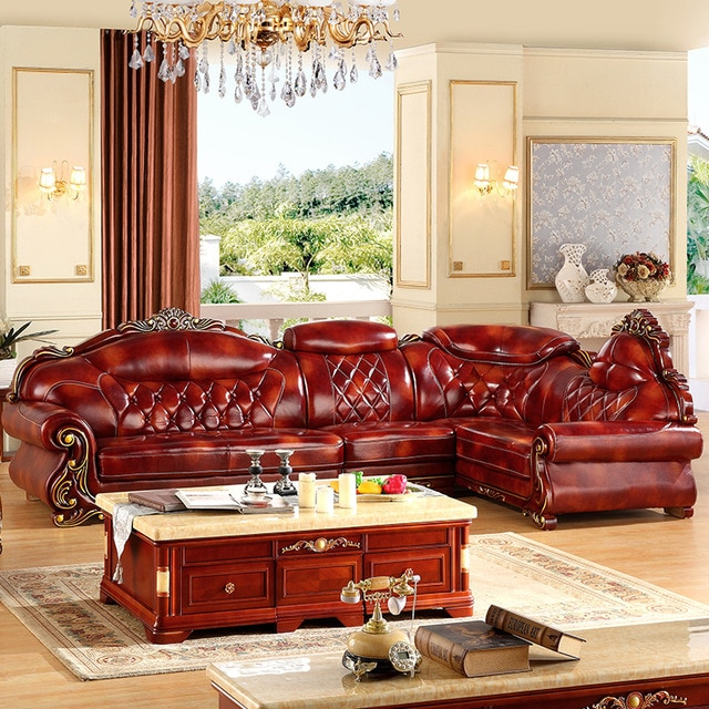 L shape leather 3.6 meter L shape antique sofa for big house any