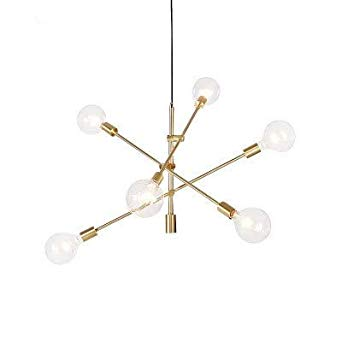 Modern Chandelier Lighting 6 Lights Brushed Brass Chandelier Mid