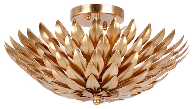 Crystorama Broche Flush Mount Ceiling Fixture, Antique Gold