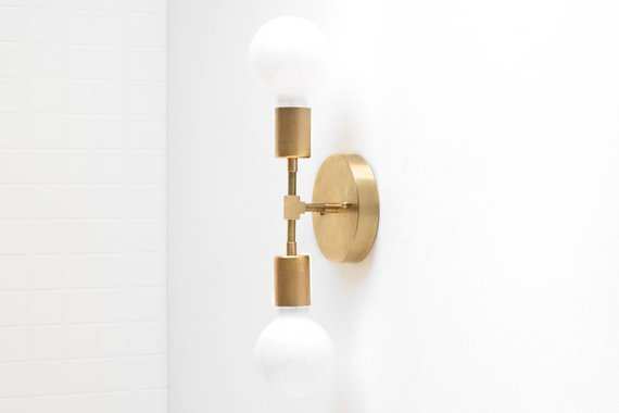 Gold Wall Sconce Modern Wall Lamp Industrial Light Bare   Etsy