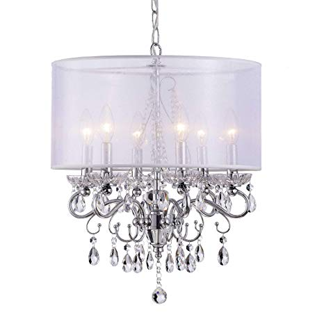 Allured Crystal Chandelier with Translucent Fabric Shade - - Amazon.com