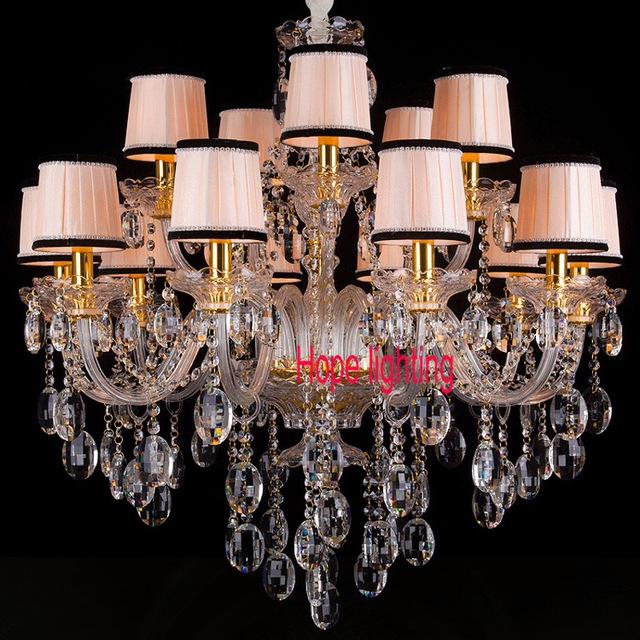 fabric shade crystal chandelier living room led chandelier with