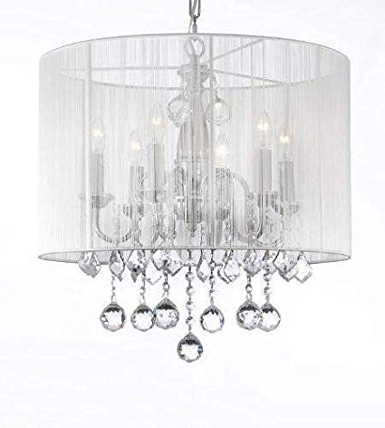 Crystal Chandelier Chandeliers With Large White Shade & 40MM Crystal