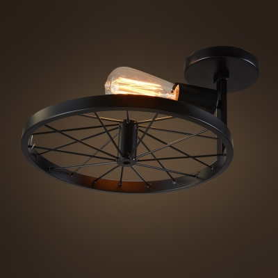 Country Style 12'' Wide Single Light Wheel Shape Semi Flush Ceiling