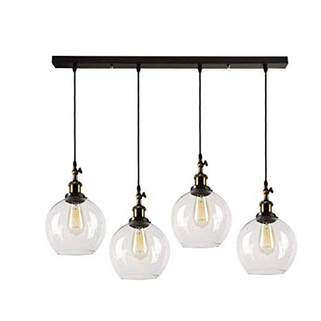 SUSUO Lighting 4-Lights Retro Country Style Clear Glass Island