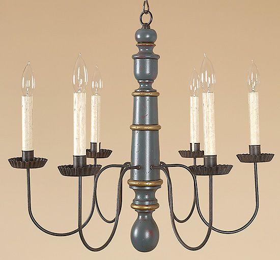 Primitive Light - Forge Chandelier - Colonial - Wood - Country Style