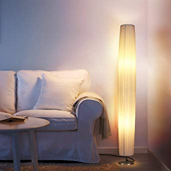 Albrillo LED Floor Lamp with Fabric Shades, 46 Inch Tall