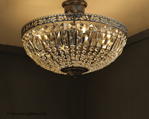Florence Crystal Semi Flush Ceiling Light - Nirvana Lighting Nirvana