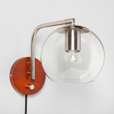 Madrot Glass Globe Wall Light Nickel Lamp Only - Project 62™ : Target